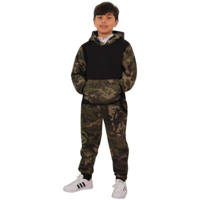 A2Z Trendz Kids Boys Girls Tracksuit Designer's Camouflage Green & Black Contrast Panel Zipped Top Hoodie & Botom Jogging Suit Age 7 8 9 10 11 12 13 Years