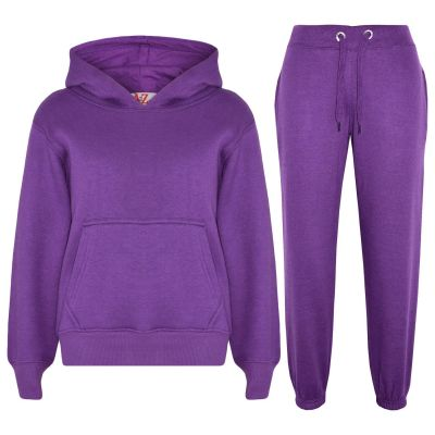 Girls Plain Purple Hooded Tracksuit