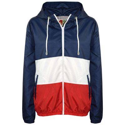 A2Z Trendz Kids Girls Boys Windbreaker Jackets Designer's Contrast Panel Navy Hooded Light Weight Waterproof Kagoul Rain Mac Raincoat Age 5 6 7 8 9 10 11 12 13 Years