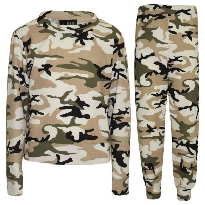 A2Z Trendz Girls Lounge Suit Kids Camouflage Jogsuit Top Bottom Joggers Leggings New Age 7 8 9 10 11 12 13 Years