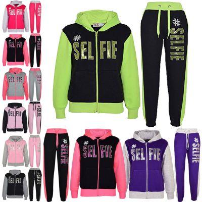 Kids Girls #SELFIE Print Hooded Tracksuit
