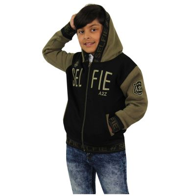 A2Z Trendz Kids Girls Boys Jackets Designer's #Selfie Embroidered Fashion Khaki Zipped Top Hooded Hoodie Stylish Coat Age 5 6 7 8 9 10 11 12 13 Years