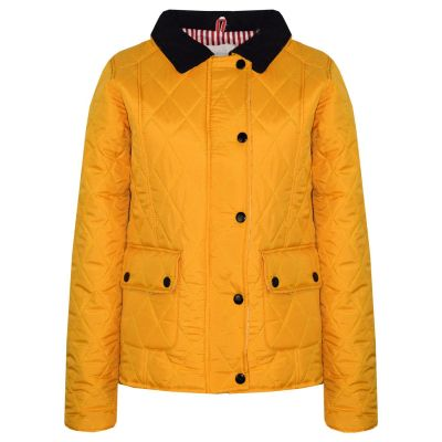 A2Z Trendz Kids Jackets Girls Mustard Designer's Quilted Padded Collar Buttoned Zipped Jacket Warm Thick Coats Age 5 6 7 8 9 10 11 12 13 Years