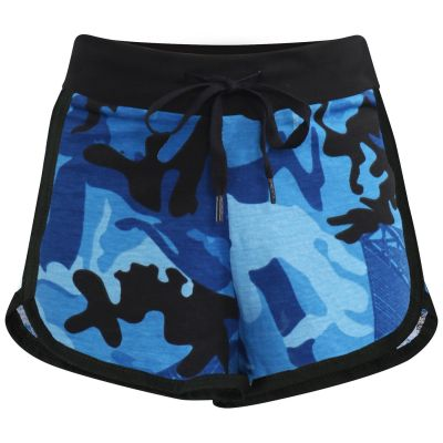 Kids Girls Shorts 100% Cotton Gym Dance Sports Camouflage Blue Summer Hot Shorts.