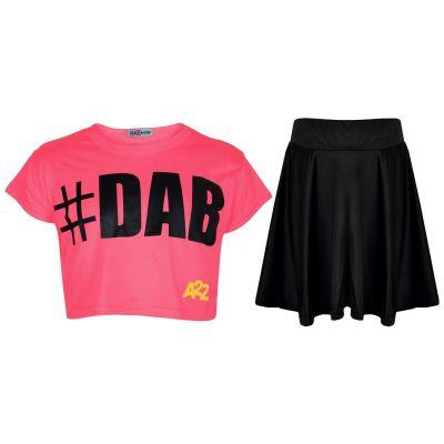 Kids Girls Crop Top #DAB Neon Pink Trendy Floss Fashion Tees & Skirt Set 5-13 Yr