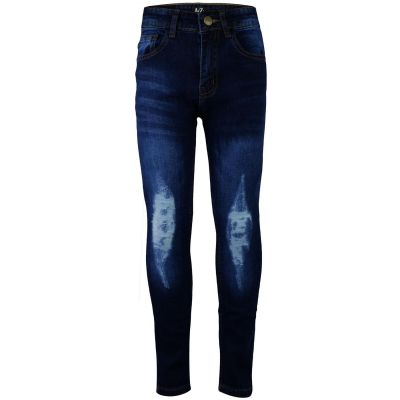A2Z Trendz Kids Boys Stretchy Jeans Designer's Denim Dark Blue Knee Ripped Fashion Bikers Skinny Pants Stylish Faded Bottom Slim Fit Adjustable Waist Trousers Age 5 6 7 8 9 10 11 12 13 Years