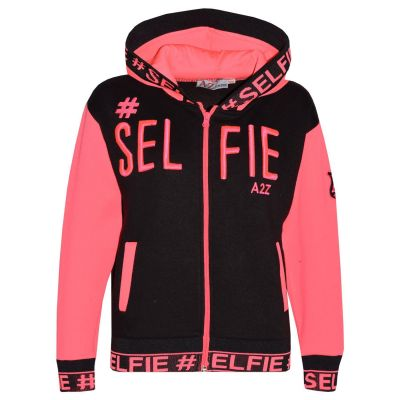 A2Z Trendz Kids Girls Jackets Designer's #Selfie Embroidered Fashion Neon Pink Zipped Top Hooded Hoodie Stylish Coat Age 5 6 7 8 9 10 11 12 13 Years