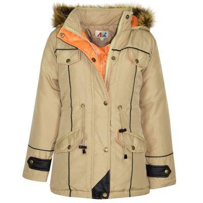 Kids Girls Jacket DESIGNER'S Girls Stone Parka Coat Faux Fur Hooded Top New Age 3-13 Years