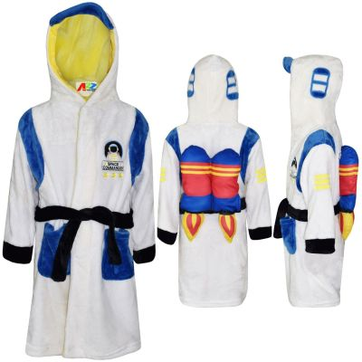 A2Z Trendz Kids Boys Girls Bathrobes Designer's Space Commander Costume Hooded Soft Short Dressing Gown Nightwear Loungewear Age 2-13 Years