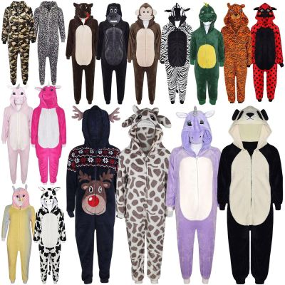 Kids Girls Boys Soft Fluffy Animal Monkey Gorilla Leopard Skull Camofulage Wolf Onesie All In One Costume