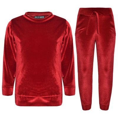 A2Z Trendz Girls Lounge Suit Kids Designer's Velvet Velour Red Top & Bottom Lounge Wear Tracksuit Age 5 6 7 8 9 10 11 12 13 Years