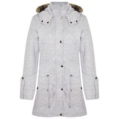 A2Z Trendz Kids Girls Coat Grey Fleece Parka Jacket Faux Fur Hooded Long Fashion Winter Coats Age 5 6 7 8 9 10 11 12 13 Years