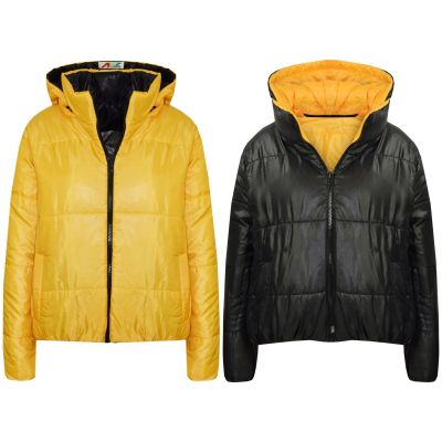 A2Z Trendz Girls Jacket Kids Designer's Mustard Reversible Cropped Hooded Padded Quilted Puffer Jackets Warm Thick Coats New Age 5 6 7 8 9 10 11 12 13 Years