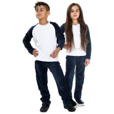 Kids Girls Boys Plain Pyjamas Navy Loungewear Flannel Fleece Nightwear PJS.