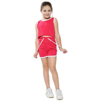 A2Z Trendz Kids Girls Shorts Set 100% Cotton Contrast Taped Trendy Fashion Summer Pink T Shirt Top And Hot Short Pants Outfit Set New Age 5 6 7 8 9 10 11 12 13 Years