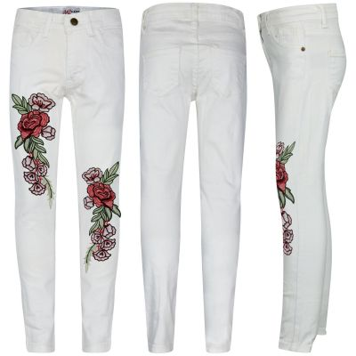 Kids Girls Stretchy Jeans Rose Embroidered White Denim Pants Jeggings.