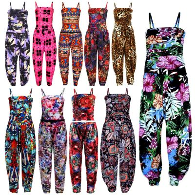 Girls Jumpsuit Kids Floral Leopard Aztec Tribal Print Trendy Playsuit All In One Age 7 8 9 10 11 12 13 Years