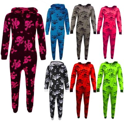 Kids Unisex Onesie Girls Boys Skull & Cross Bone Print Onesies All In One Jumpsuit PJ's New Age 5-13 Years