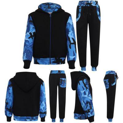 Girls Boys Camouflage Print Tracksuit Fleece Hooded Hoodie Bottom Jogging Suit