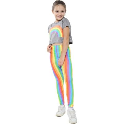 A2Z Trendz Kids Girls Crop Top Designer's Rainbow Print Steel Grey Tops Trendy Floss Fashion Belly Shirt Trendy T Shirt Tees New Age 5 6 7 8 9 10 11 12 13 Years