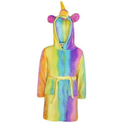 A2Z Trendz Girls Boys Bathrobes Kids 3D Animal Soft Hooded Fleece Unicorn Cosplay Rainbow Bathrobe Dressing Gown Night Lounge Wear Age 5-13 Years