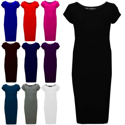 Girls Midi Dress Kids Plain Bodycon Stylish Fashion Summer Dresses Age 5 6 7 8 9 10 11 12 13 Years