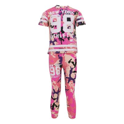 Girls New York Brooklyn 98 Athletic Camouflage Print Summer Outfit Set