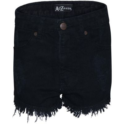 A2Z Trendz Kids Girls Shorts Jet Black Bermuda Skinny Ripped Jeans Hot Pants Summer Denim Chino Short Casual Half Pant New Age 3 4 5 6 7 8 9 10 11 12 13 Years