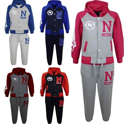 GIRLS BOYS TRACKSUIT N ATHLETIC NEW YORK VARSITY HOODIE BOTTOM JOG SUIT JOGGERS AGE 2-13 YEARS