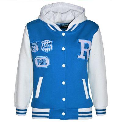 Kids Girls Designer's R Fashion Baseball Turquoise Hooded Jackets Varsity Hoodie