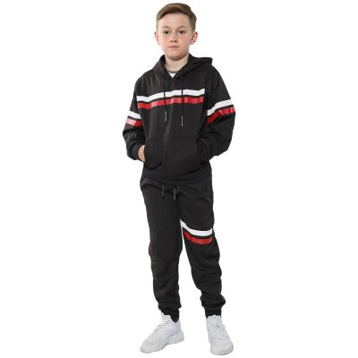 A2Z 4 Kids Kids Girls Boys Tracksuit Designer's Plain Contrast With Red & White Stripes Fleece Hooded Hoodie Top Bottom Workout Running Jogging Suit Gymwear Joggers Age 5 6 7 8 9 10 11 12 13 Years