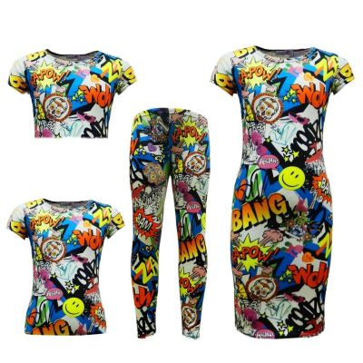KIDS GIRLS COMIC GRAFFITI BANG PRINT LEGGING SKATER MIDI DRESS CROP TOP SKIRT AGE 7-13 YAERS