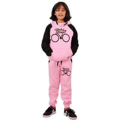 A2Z Trendz Girls Tracksuit Kids Designer's Pedal Power Print Baby Pink & Black Hooded Top & Botom Jogging Suit Joggers  5 6 7 8 9 10 11 12 13 Years