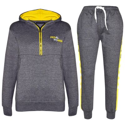 A2Z Trendz Kids Boys Girls Tracksuit Designer's Pedal Power Embroidered Zipped Charcoal Hooded Top Botom Jogging Suit Joggers New Age 5 6 7 8 9 10 11 12 13 Years