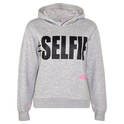Kids Boys Girls Sweat Shirt Tops Grey #Selfie Hooded Jumpers Hoodies Age 5-13 Yr