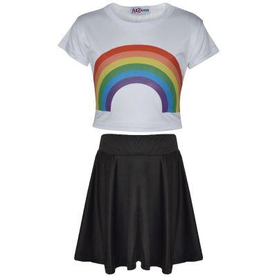 A2Z Trendz Kids Girls Crop Top & Skirt Sets Designer's Rainbow Print White Trendy Floss Fashion Belly Shirt & Skirts Trendy T Shirt Tops Tees & Bottom Set New Age 5 6 7 8 9 10 11 12 13 Years