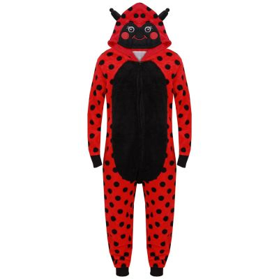 A2Z Trendz Kids Girls Boys Onesie Extra Soft Fluffy Lady Bird All In One Animal Halloween Costume New Age 7 8 9 10 11 12 13 14 Years