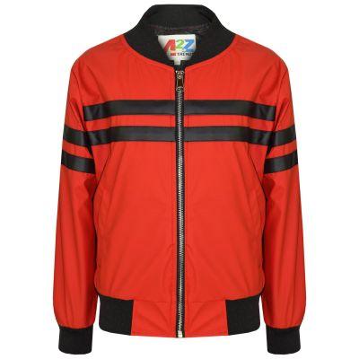 A2Z Trendz Kids Kids Boys PU Leather Jackets Contrast Striped Red Zip Up Mock Neck Varsity Baseball Fashion School Jacket Bikers Coats New Age 5 6 7 8 9 10 11 12 13 Years