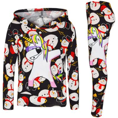A2Z Trendz Kids Girls Tracksuit Designer's Snowman Black Unicron Dab Hooded Top & Legging Lounge Wear Outfit Set Xmas Costume New Age 7 8 9 10 11 12 13 Years