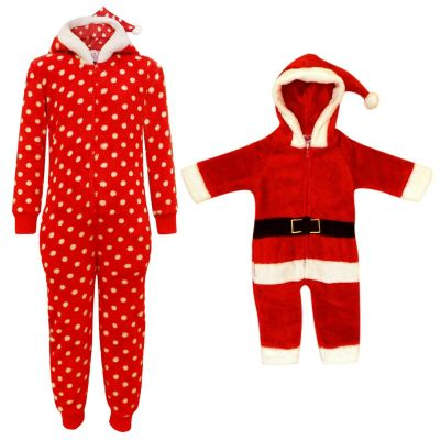 KIDS GIRLS BOYS CHRISTMAS ONESIE EXTRA SOFT MR & MRS SANTA CLAUS ALL IN ONE PJ'S COSTUME NEW AGE 6 MONTHS - 6 YEARS