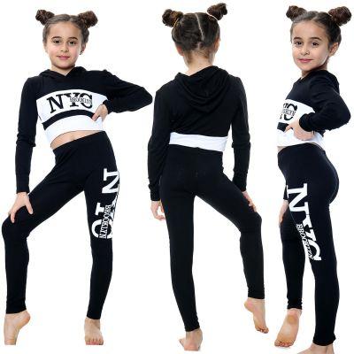 Kids Girls NYC Brooklyn Printed Black Hooded Crop Top Legging Outfit Sets.