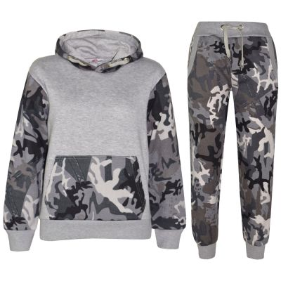 A2Z Trendz Kids Boys Girls Tracksuit Designer's Camouflage Charcoal & Grey Contrast Panel Zipped Top Hoodie & Botom Jogging Suit Age 7 8 9 10 11 12 13 Years