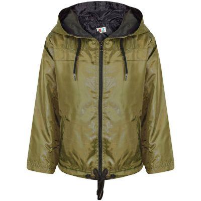 A2Z Trendz Girls Boys Raincoats Jackets Kids Olive Lightweight Kag Mac Waterproof Hooded Jacket Cagoule Rain Mac Age 5 6 7 8 9 10 11 12 13 Years
