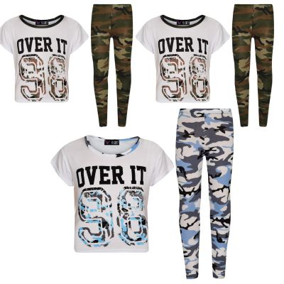 A2Z Trendz Girls Tops Kids Designer's Over It 98 Camouflage Print Trendy Crop Top & Fashion Legging Set New Age 7 8 9 10 11 12 13 Years