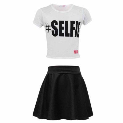 Kids Girls #SELFIE Crop Top & Fashion Skater Skirt Set 7 8 9 10 11 12 13 Year.