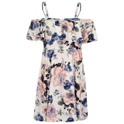 A2Z Trendz Girls Skater Dress Kids Ivory Floral Print Summer Party Fashion Off Shoulder Dresses New Age 7 8 9 10 11 12 13 Years