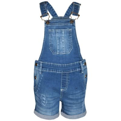 A2Z Trendz Kids Girls Dungaree Shorts Designer's Light Blue Denim Ripped Stretch Jeans Overall All In One Jumpsuit Playsuit Age 5 6 7 8 9 10 11 12 13 Years