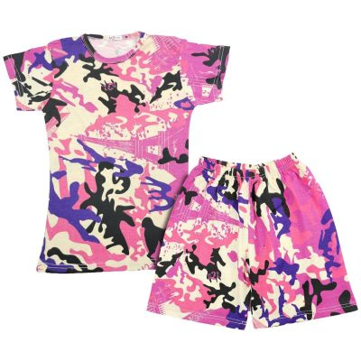 A2Z Trendz Kids Girls Shorts Set 100% Cotton Camouflage Baby Pink Print Trendy Fashion Summer T Shirt Top And Short Pants Outfit Clothing Sets New Age 5 6 7 8 9 10 11 12 13 Years