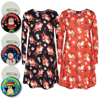 A2Z Trendz Girls Xmas Dress Kids Santa Claus Gifts & Stars Print Christmass Dresses With A Free Xmas Badge New Age 2 3 4 5 6 7 8 9 10 11 12 13 Years