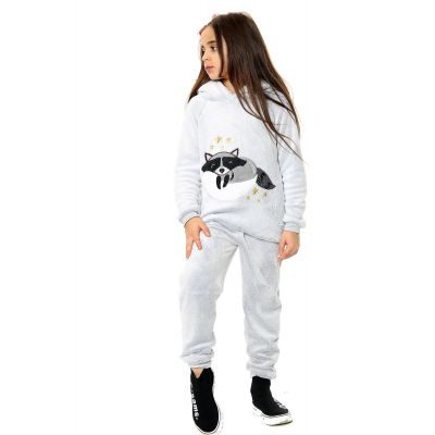 Kids Girls Boys Pyjamas Raccoon Print Loungewear Flannel Fleece Hooded Nightwear PJS.